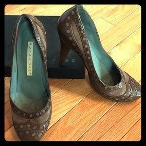 Pura Lopez Brown Leather & Suede Heels